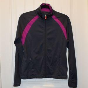 Sportek Zip Up Mocneck Athletic Sweater Medium
